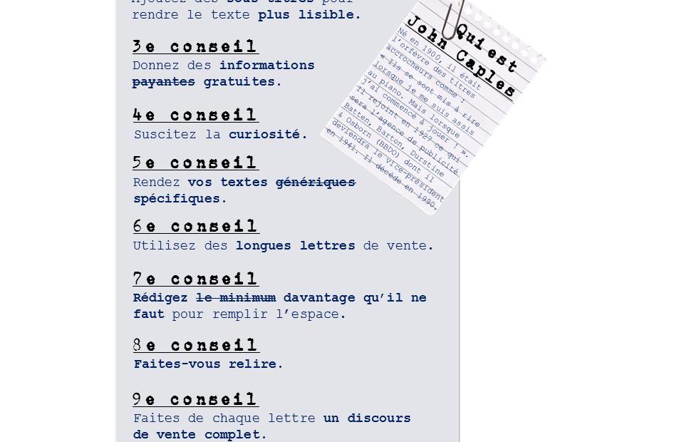 Infographie : les 9 conseils de John Caples, maître copywriter, pour sublimer vos textes de vente (copywriting)