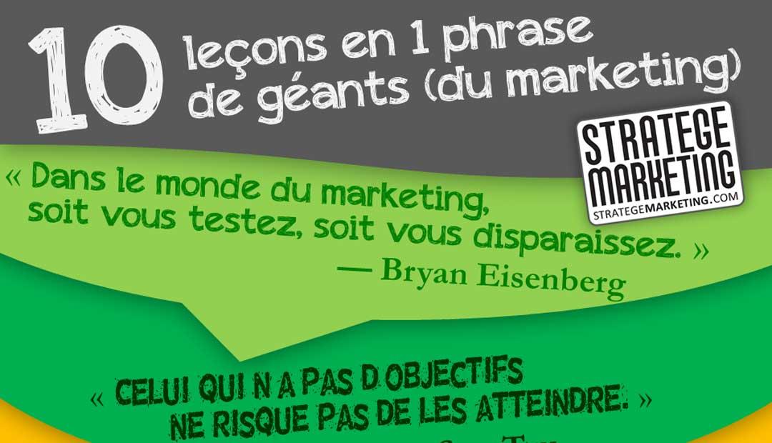 Infographie : 10 leçons en 1 phrase des géants du marketing